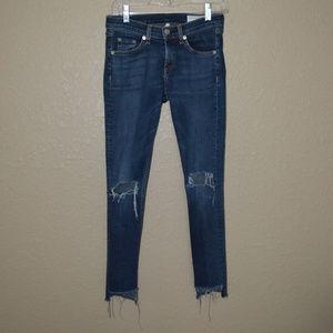 Sz 26 Rag & Bone Blue Vashion Step Destroyed Jeans